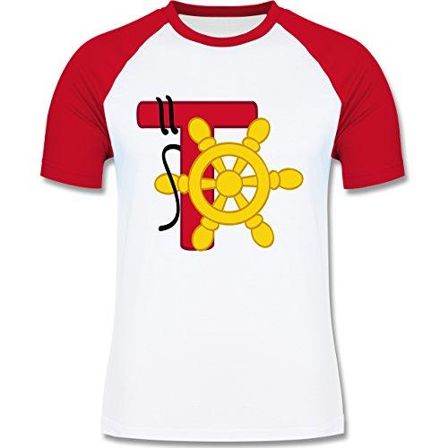Anfangsbuchstaben - T Schifffahrt - zweifarbiges Baseballshirt für Männer Weiß/Rot