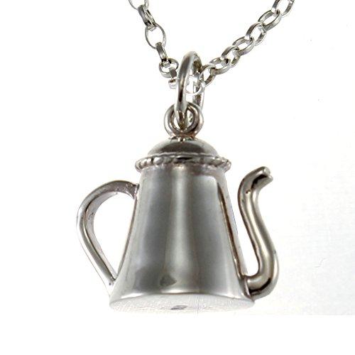 Sterling Silber Tee Kaffeekanne Halskette mit Anhänger 45,7cm Kette