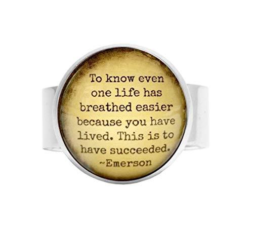 aka Ring mit Zitat Emerson, inspirierender Zitat, Verstellbarer Ring, Glas, verstellbar, Geschenkidee für den Erfolg -
