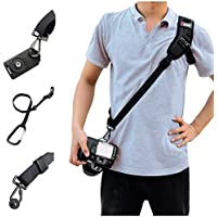 Cameras Shoulder Straps, SUPRBIRD Camera Harness Rapid Sling Camera Strap Quick Release with Safety Tether Adjustable Belt for All DSLR Camera Canon Nikon Sony Olympus (Black)