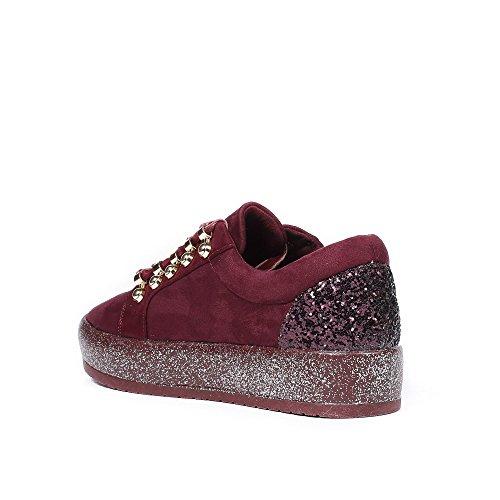 Ideal Shoes - Baskets basses effet daim avec lacets velours Rosela Bordeaux