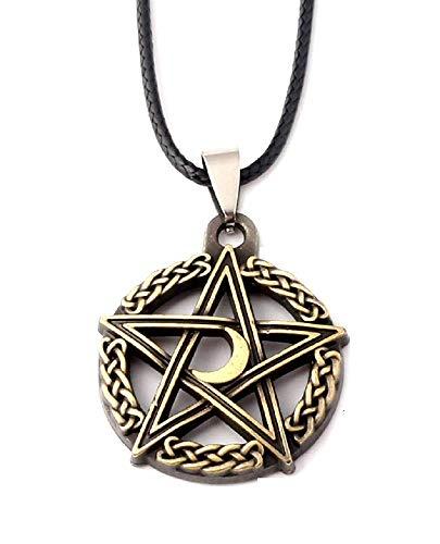 Oro - Collar - Pentagrama - Estrella - Pentáculo - Luna - Símbolo - Wicca - Gótico - Protección - Hombre - Mujer - Unisex - Idea de regalo