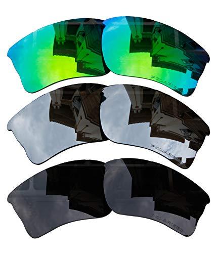 3Paar bvanq Polarized Ersatz für Oakley Quarter Jacket OO9200grün & schwarz & schwarz Spiegel