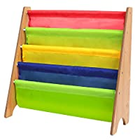 Homfa Childrens Bookcase Wooden Sling Bookshelf Room Storage Rack