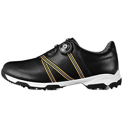 footjoy boa PGM Herren Golfschuhe aus weichem Leder, ultraleichte, wasserdichte und atmungsaktive Turnschuhe mit BOA-Schnürsystem,Black,UK10/EU44