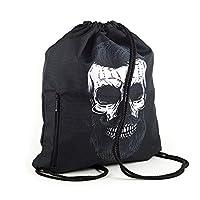 LimeWorks drawstring bag, Skull, with lining and external pocket