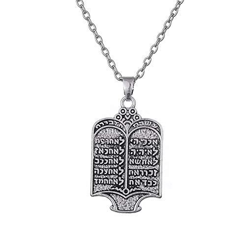 Vintage Halskette Jüdische Tora Scroll 10 Gebote Anhänger Halskette Buch Halskette Charms Frauen Schmuck