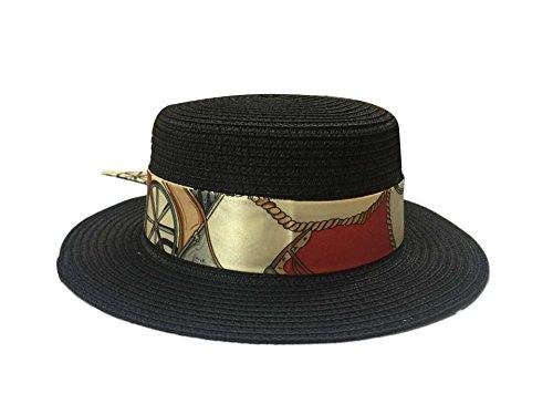 ACVIP Femme Chapeau de Soleil Panama en Paille Large Bord Plage Mer avec Ruban Eté Noir
