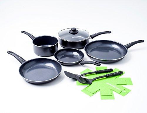 GreenChef CC000913-001 100% sans PFOA/PFA-Revêtement Antiadhésif Sain en Céramique-pour Induction/Four/Lave-Vaiselle-10 Pièces, Aluminium, Noir, 1 x 1 x 1 cm