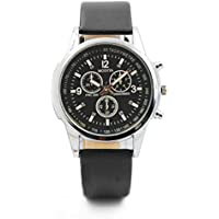 Cebbay Liquidación Three Eye Watches Reloj de Cuarzo para Hombre Reloj de Pulsera de Cristal Azul Moda de Ocio (Black)