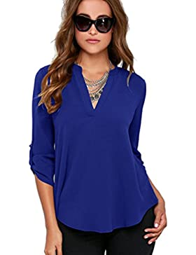 Yuncai Mujer Gasa Color Solido V-cuello Blusas Camisas