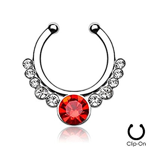 1 x Steel Clear & Red Crystal Surround Helios Surgical Steel Fake Faux Clip On Septum Ring, No Piercing (Kostüme Helios)