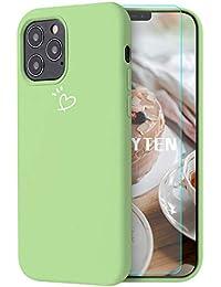 Feyten Funda iPhone 12/12 Pro (6,1 Pulgadas) [Cristal Vidrio Templado], Ultra Delgado Forma de Corazón Patrón Diseño Silicona Suave TPU Gelo Anti-Rasguño Protección Completo Caso - Verde