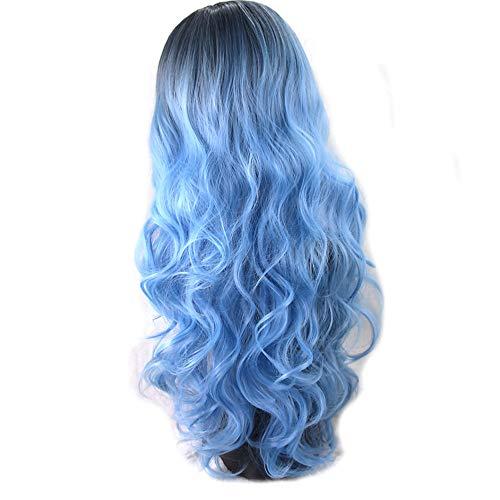 xiaofengliustore Perücke:Synthetische Perücken Große Wellen Stil Kappenlos Perücke Blau Synthetische Haare Damen Gefärbte Haarspitzen (Ombré Hair) / Mittelscheitel Blau Perücke Lang Natürliche:Blau