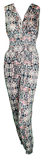 Mevina Damen Jumpsuit Harem Overall Einteiler Retro Karo Gipsy Hippie Paisley Muster Urlaubs Top Modell 3 XL/XXL O1182
