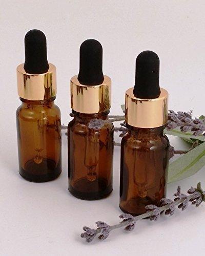 10ml Braunglas Aromatherapie Flasche (3ER PACK) mit GOLD Premium Glas Farbe Pipetten Deckel Top Qualität Perfekt für Ätherische Öle Parfüm Öle usw.