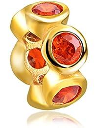 Everbling rojo rubí espaciador julio Birthstone 925plata de ley Charm Beads Fits Pandora pulsera