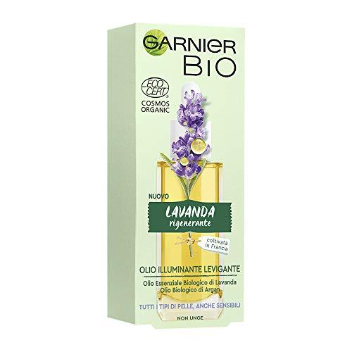 Garnier Bio Olio Viso Naturale Lavanda Rigenerante, Olio Viso Illuminante e Levigante, Formula alla Lavanda, 30 ml, Confezione da 1