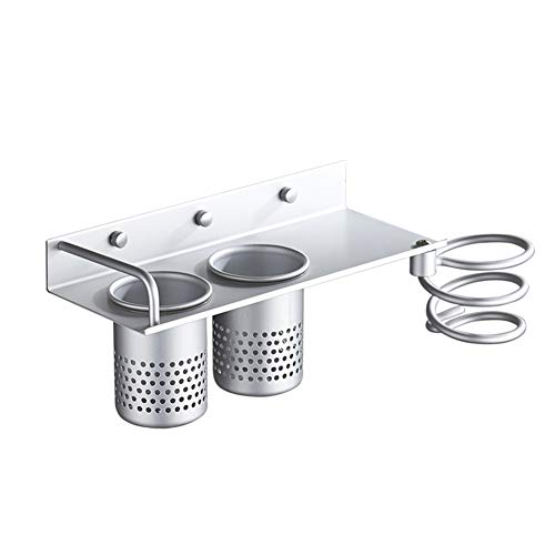GYFHMY Aluminium Wandhalterung Haartrockner Halter Multifunktionale Bad Organizer Collection Lagerregal Spiral Care Tools Hängen Zahnbürste Schlag Styling Stand mit 2 Tasse -