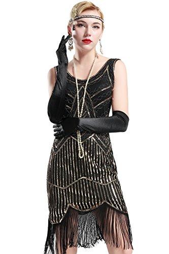 BABEYOND Frauen Art Deco V-Ausschnitt 20s Gatsby Fringed Sequin Flapper Kleid (Etikette M/ UK12-14/ EU40-42, Schwarz und Gold)