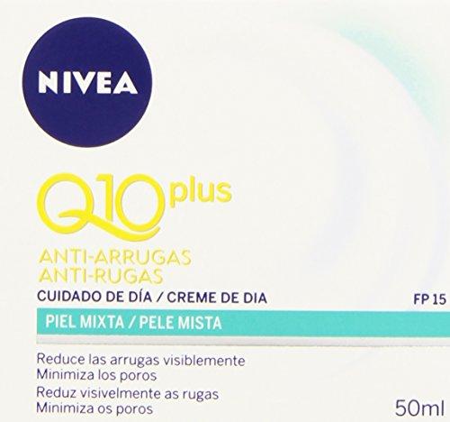 NIVEA Q10 Power Antiarrugas Cuidado de Día (1 x 50 ml), crema facial antiarrugas para piel mixta, crema hidratante con…
