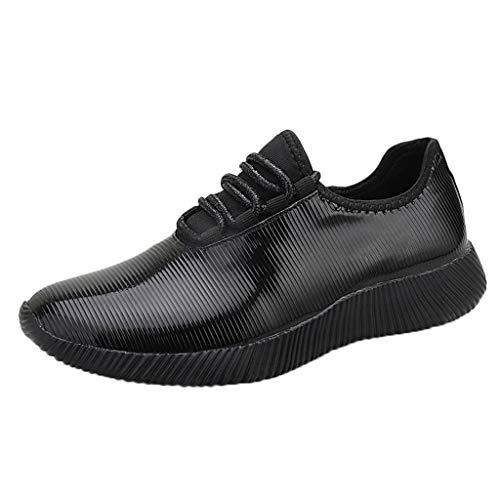 WOZOW Scarpe da Donna Scarpe Sportive Sneaker Moda Serie Specchio Scarpe da Ginnastica riflessivo Casuale in Esecuzione Scarpe Nero 38EU