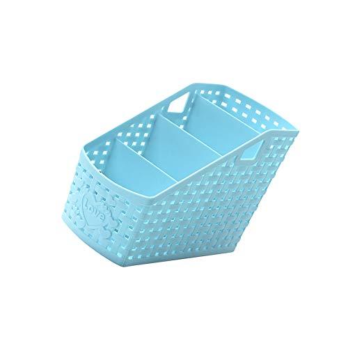 Snner Plastikaufbewahrungskorb Büro Kunststoff-Aufbewahrungsbox Desktop-Finishing-Box Lagerbehälter Schreibtisch ordentlich Tablett Caddy Kasten ist 1pcs (lila, 4-Grid)