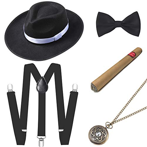 ArtiDeco 1920s Herren Accessoires Mafia Gatsby Kostüm Set inklusive Panama Gangster Hut Verstellbar Elastisch Hosenträger Herren Halsschleife Fliege Taschenuhr und Plastik Zigarre (Set-10) (1920er Jahre Mann)