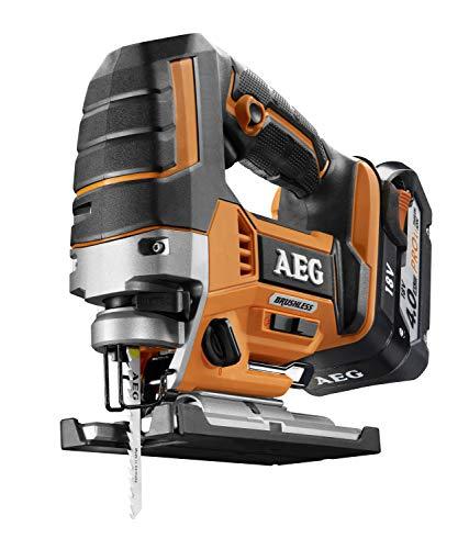 AEG 4935459656 Brushless BST18BLX-402C - Sierra de calar inalámbrica 18 V, iluminación LED, 5 velocidades...