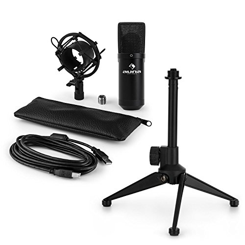auna MIC-900B • USB Mikrofon-Set V1 • Kondensatormikrofon + Mikrofon-Tischständer • Nierencharakteristik • USB • Plug & Play • perfekte Haltteeigenschaft • Höhenverstellbar • rutschfest • schwarz