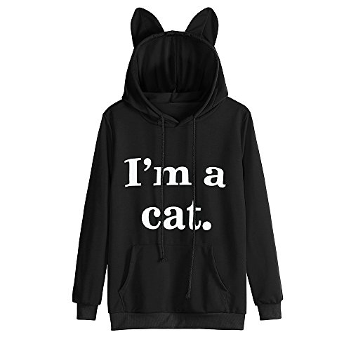 Damen Katze Kapuzenpulli, Lenfesh Cartoon Langarm Kostüm Tier Cosplay Sweatshirt Tops (S, Schwarz)