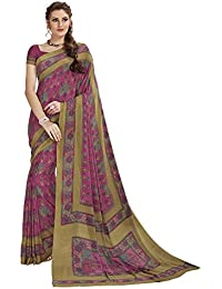 Vipul PINK Crepe PRINTED Saree With Blouse Piece
