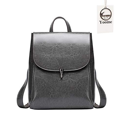 Yoome Kuh Leder Rucksack Geldbörse große Kapazität Stilvolle Frauen Tasche für Multi-Way-Umhängetasche Handtasche grau