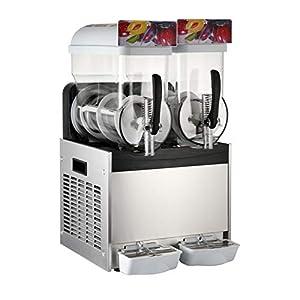 Moracle 2 x 15L Slusheis Maschine 500W/600W Slush Maker kommerziell Slush Ice Machine Slush Eismaschine Frozen Drink (2 Tanks)