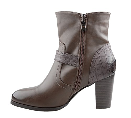 Eyekepper Damenmode Flanellfutter Belted Chunky Heel Side Zipper Stacked Ankle Booties Dunkel Braun