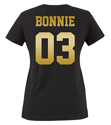 Comedy Shirts - Bonnie 03 - Damen T-Shirt - Schwarz/Gold Gr. XS Schwarz-gold-tv-serie