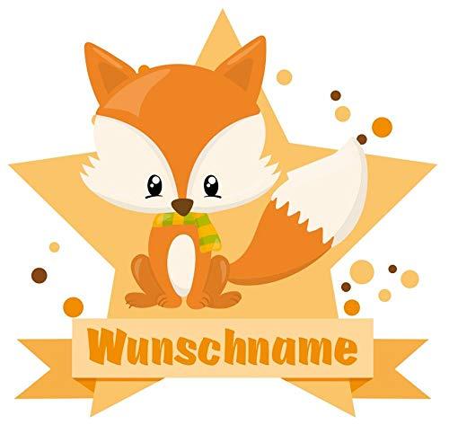 Samunshi® Baby Fuchs Aufkleber mit Namen Autoaufkleber Namensaufkleber Kinder in 7 Größen (10x8,8cm Mehrfarbig)