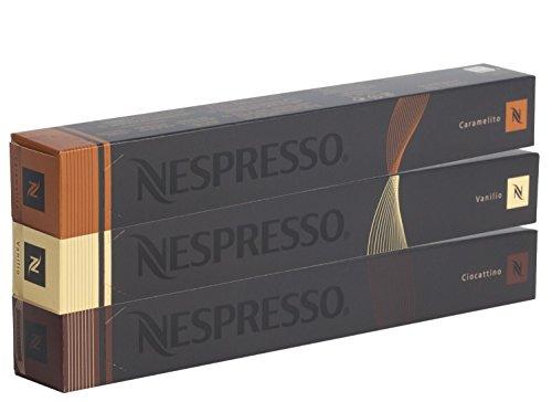 Nespresso Kapseln vanille / gelb - 10x Vanilio 10x Caramelito 10x Ciocattino - Original - für Nespresso Maschinen