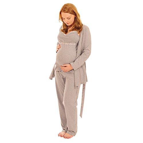 Pink Pixie - Pyjama de grossesse 3 pièces, allaitement facile, avec robe de chambre - Gris - X-Large