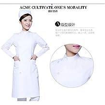 ESENHUANG Laboratorio De Médicos Bata Blanca Uniformes De Ropa De Algodón Enfermera Esteticista Cuello De Solapa