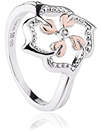 Clogau 925 Sterling Silver and 9ct Rose Gold Tree of Life Flower Ring