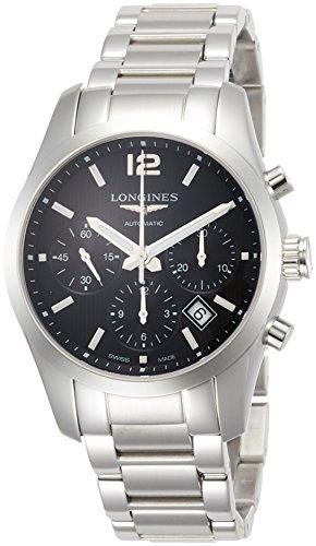 Longines Men's Steel Bracelet & Case Automatic Black Dial Chronograph Watch L27864566