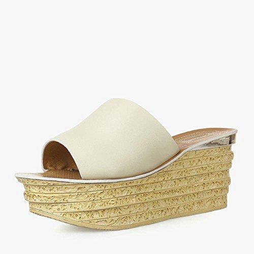 Heart&M Véritable talon compensé en cuir pour femme semelle épaisse Muffin talon plateforme Chaussons Sandals Chaussures de plage apricot
