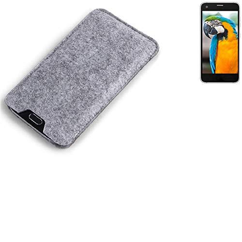 K-S-Trade Filz Schutz Hülle für Vestel V3 5040 Schutzhülle Filztasche Filz Tasche Case Sleeve Handyhülle Filzhülle grau