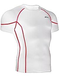 emFraa Homme Femme Running White Compression Baselayer T-Shirt Shortsleeve S~XL