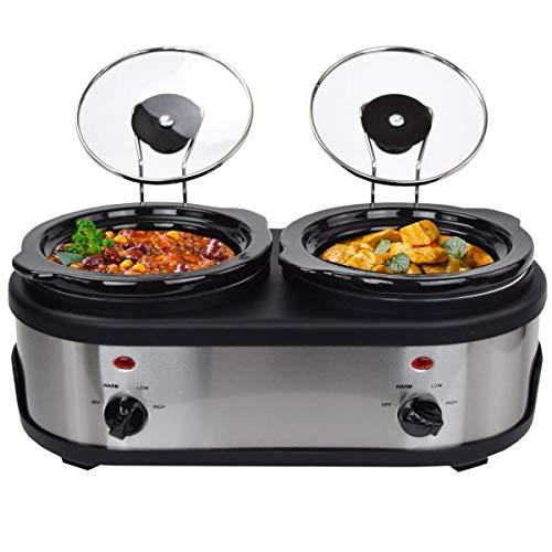 SC-3.0L OV 2 x 1,5 Liter Slow Cooker mit Warmhaltefunktion, Sicherheitsglas und entnehmbarer innerer Keramikschüssel, Edelstahl