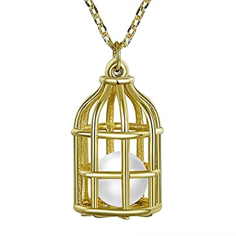 Fancilla Fashion Jewellery 14K Gold Plated Pendant Necklace with Simulated Pearl Locked in Bird Cage, 18''