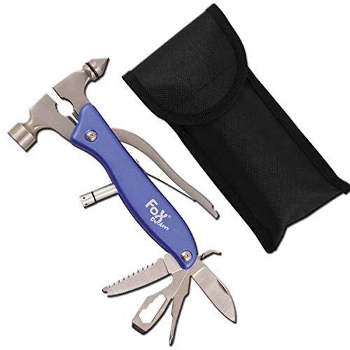 Multitool mit Zange, Hammer, LED-Lampe, Schraubenzieher, Schraubenschlüssel, Flaschenöffner, Multifunktionswerkzeug, Werkzeugset, Messer und Tasche