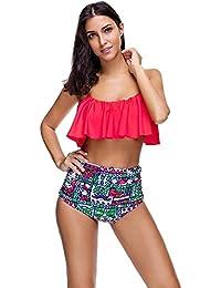 Lover-Beauty Damen Bikini-Set mit Volant Push up Badenanzug Blumen  Badebekleidung Swimsuit Zweiteilig… 00ed5db7ac
