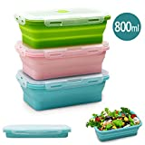 Silicone Food Storage Containers with Lids - 3 Pack Set 800ml Collapsible Meal Prep Lunch Containers Bento Boxes - Microwave, Freezer and Dishwasher Safe